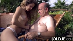 Teenage Wants To Gargle An Old Guy Shaft And Get Pummeled In Her Cooter Gets Facial Cumshot